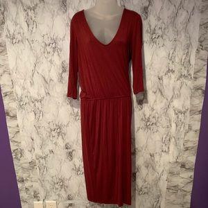 JustFab Burgundy Red Long Sleeve Maxi Dress